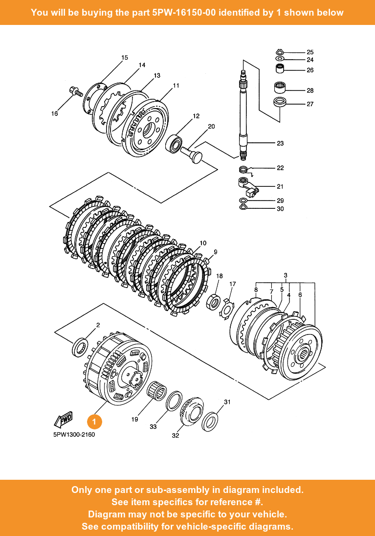 Yamaha Primary Driven Gear Comp 5pw 16150 00 Fowlers Parts Oem Ebay Diagram Of Bicycle 1 On Only Compatible With Other Bikes
