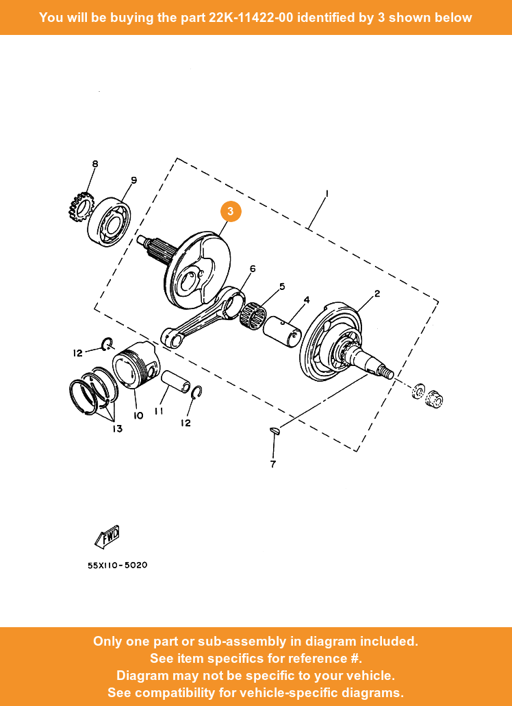 Yamaha Crank 2 22k 11422 00 Fowlers Parts Oem Ebay