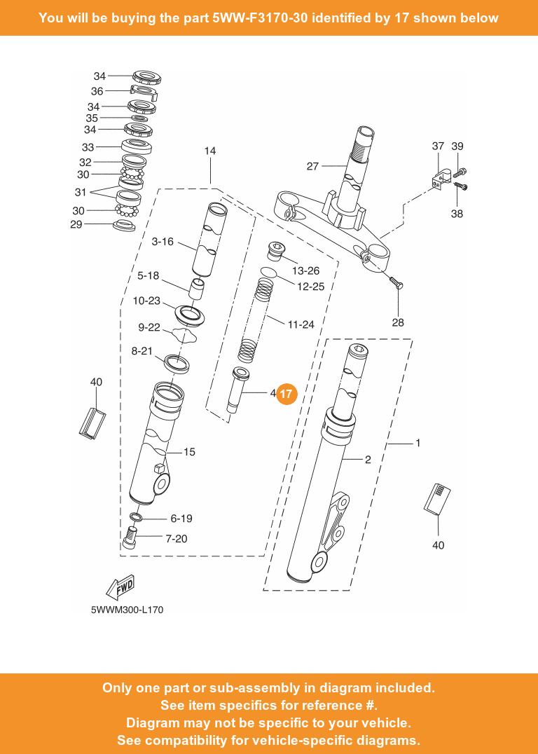 Details about YAMAHA cylinder Comp , Front Fork, 5WW-F3170-30 OEM CW50